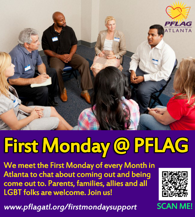 PFLAG Support Group meets on the First Monday of the month in Atlanta at UUCA